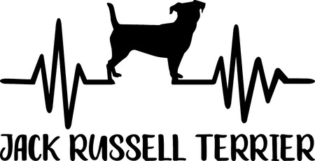 Heartbeat frequency with Jack Russell Terrier dog silhouette 矢量图像