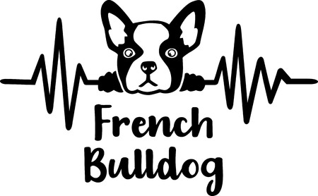 Heartbeat frequency with French Bulldog dog silhouette Illustration