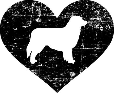 Australian Shepherd silhouette in black heart Vektorové ilustrace