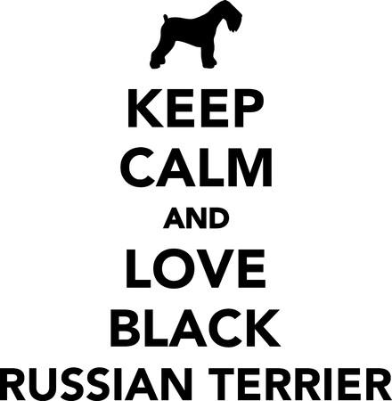Keep calm and love Black Russian Terrier 向量圖像