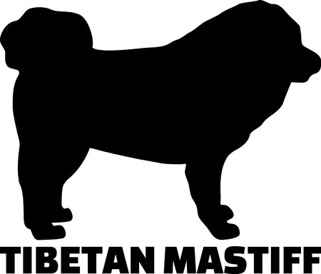 Tibetan Mastiff dog silhouette real with word