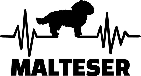 Heartbeat pulse line with Maltese dog silhouette german