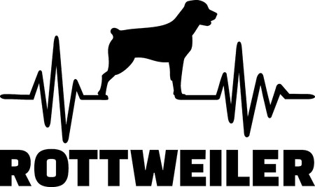 Heartbeat frequency with Rottweiler dog silhouette