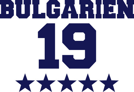 German word for Bulgaria with number 19 and blue stars