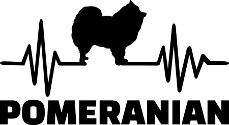 Heartbeat pulse line with Pomeranian dog silhouette