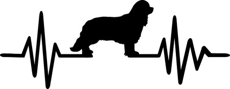 Heartbeat frequency with Cavalier King Charles dog silhouette  イラスト・ベクター素材