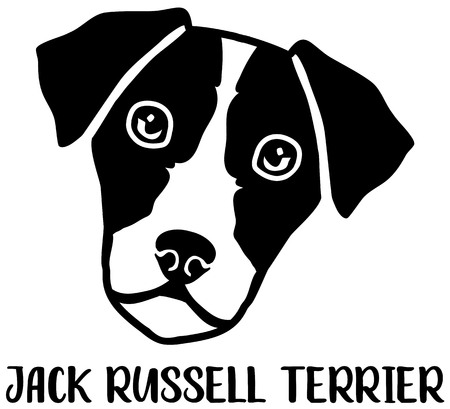 Jack Russell Terrier head silhouette with name