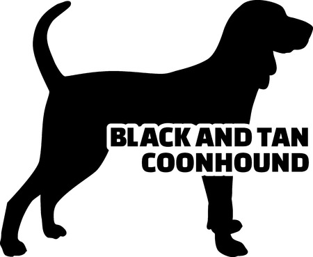 Black and Tan Coonhound silhouette real with word 일러스트