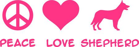 Peace, Love, German Shepherd slogan pink 向量圖像
