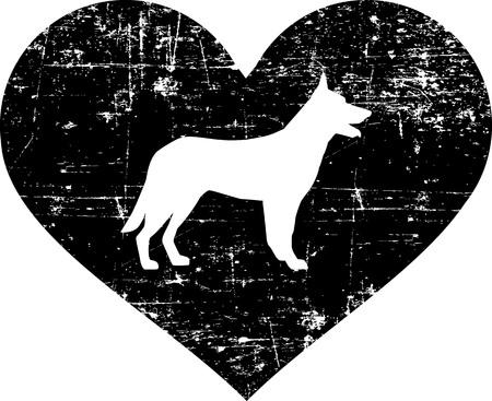 Deutscher Schäferhund Silhouette im schwarzen Herzen Vektorgrafik