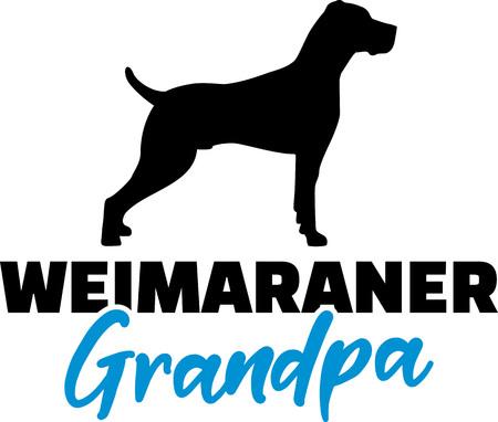 Weimaraner Grandpa silhouette in black