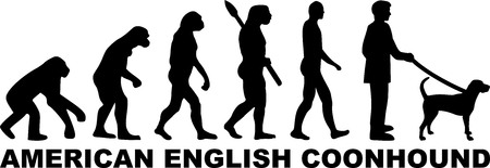 American English Coonhound evolution with word in black
