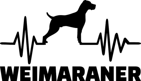 Heartbeat frequency with Weimaraner dog silhouette