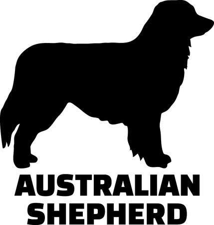 Australian Shepherd silhouette black with name
