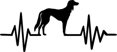 Heartbeat pulse line with Saluki dog silhouette