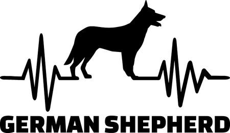 Herzschlag-Pulslinie mit Deutscher Schäferhund-Silhouette