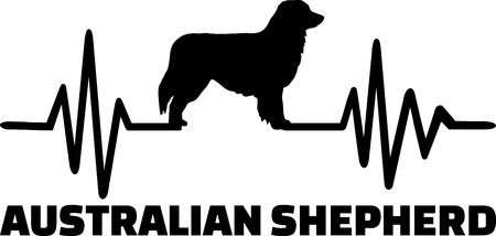 Heartbeat frequency with Australian Shepherd dog silhouette