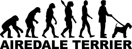 Airedale Terrier evolution with word in black Illustration