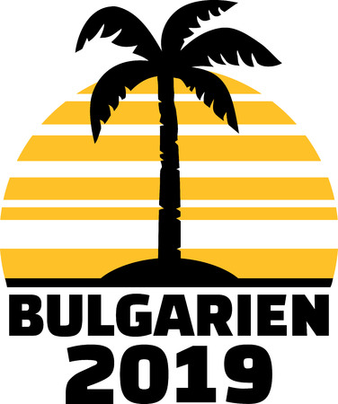 German word for Bulgaria with number 2019, sunset and palm tree