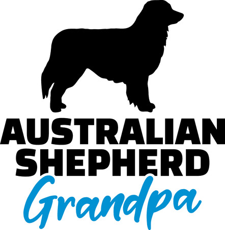 Australian Shepherd Grandpa silhouette black