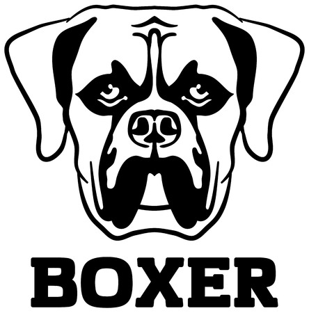 Boxer head black with name