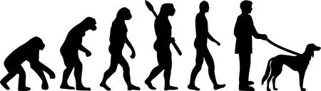 Saluki dog evolution development with silhouette