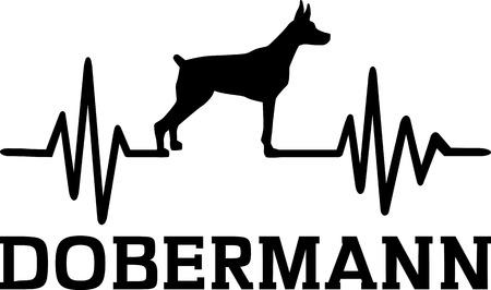Heartbeat pulse line with Doberman dog silhouette german
