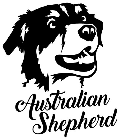 Australian Shepherd head with name