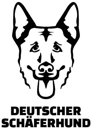 German Shepherd head with german name Stock Illustratie
