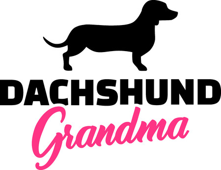Dachshund Grandma silhouette black with pink word