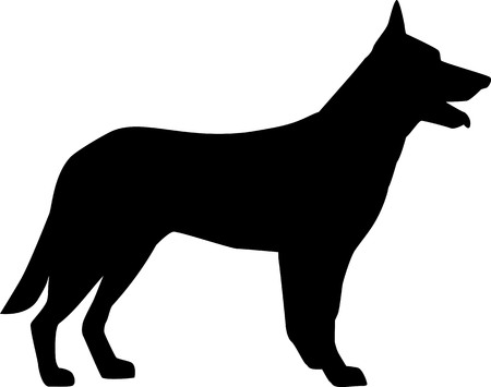 German Shepherd silhouette black Stock fotó - 115193719