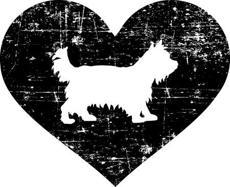 Yorkie silhouette in black heart