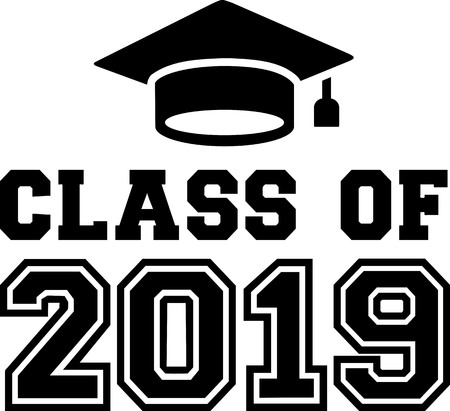 Class of 2019 with mortarboard Illustration