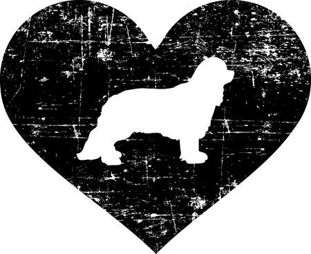 Cavalier King Charles silhouette in black heart