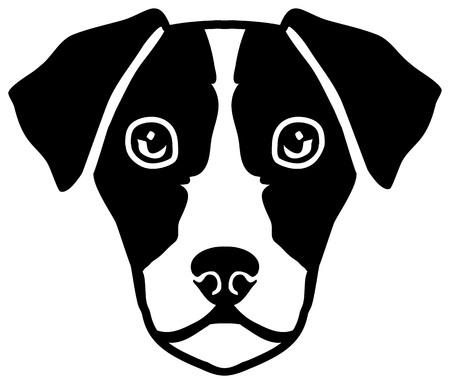 Jack Russell Terrier Kopf schwarz-weiß Vektorgrafik