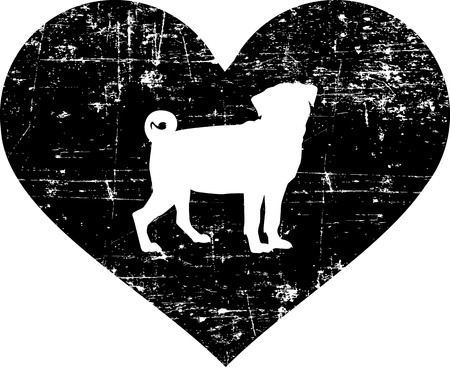 Pug silhouette in black heart