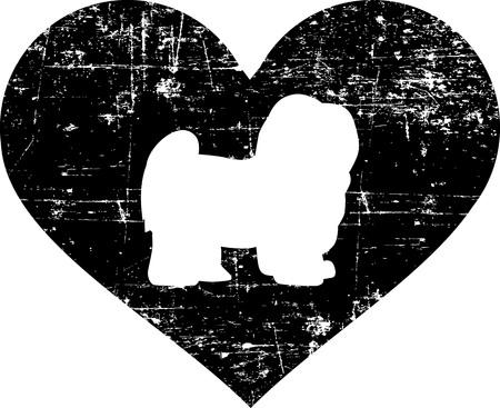 Havanese silhouette in black heart Illustration
