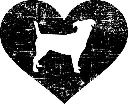 Jack Russell Terrier silhouette in black heart