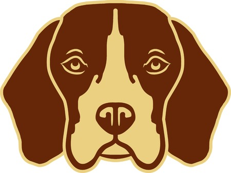 Beagle head black and white Illustration