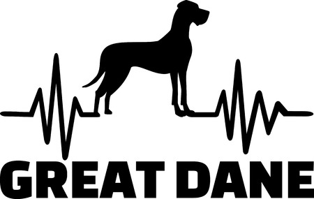 Heartbeat frequency with Great Dane dog silhouette