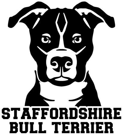 Staffordshire Bull Terrier head black with name