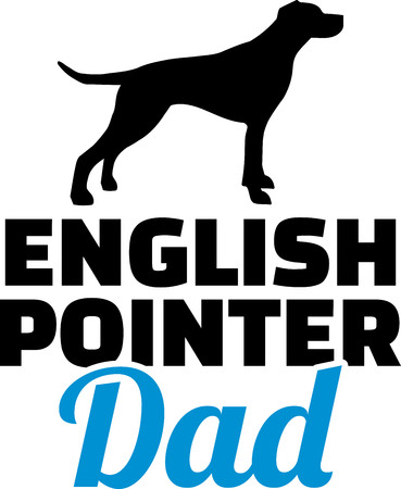 English Pointer dad silhouette with blue word
