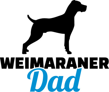 Weimaraner dad in blue with face Illustration