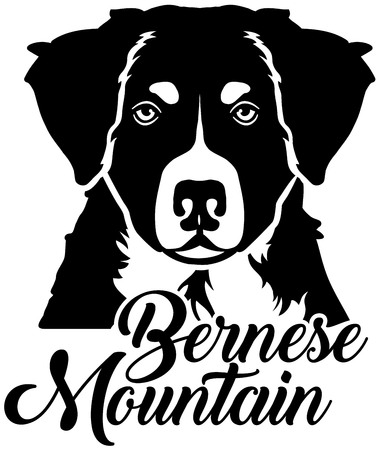 Bernese Mountain head with name Stock Illustratie
