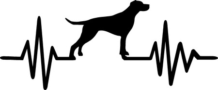 Heartbeat pulse line with English Pointer dog silhouette