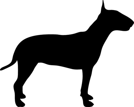 Bull terrier silhouette in black 矢量图像