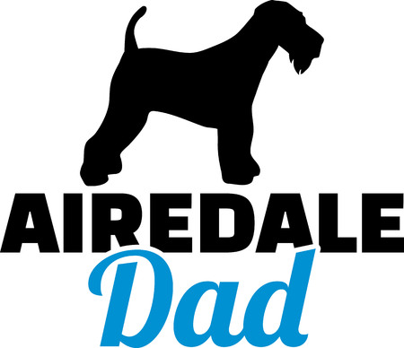 Airedale Terrier dad silhouette with blue word Illustration
