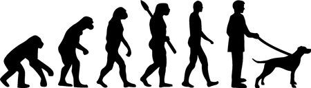 English Pointer evolution development with silhouette