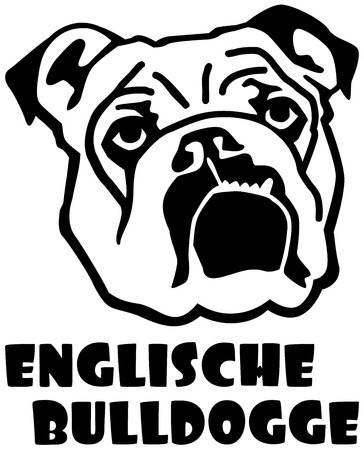 English Bulldog face with german word