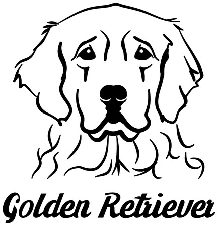 Golden Retriever head with name